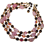 Fabulous PINK OPALESCENT Glass Lavender Crystal & Black Beads Necklace