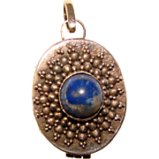 Fabulous STERLING & BLUE Stone Locket Pendant