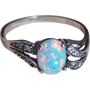 Sterling & Lab Created Opal Vintage Ring - 6 3/4