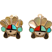 Awesome Turquoise Coral & Shell Inlaid Southwest Design Clip Earrings