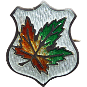 Tiny Sterling Enamel Maple Leaf Brooch - For Doll or Lapel