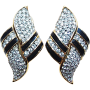Fabulous SWAROVSKI Swan Mark Rhinestone & Enamel Earrings