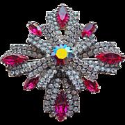 Pink Clear & Aurora Rhinestone Vintage Brooch