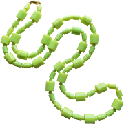 Chartreuse Green Lucite Bead 1960s Necklace