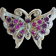 Purple & Pink Rhinestone Butterfly Vintage Brooch