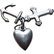 Sterling Faith Hope & Charity Vintage Charm