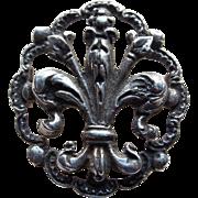 Antique Fleur de Lis 800 Silver Brooch