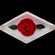Carved Lucite Red Rose Vintage Brooch