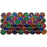 Czech Deco Color Rhinestone Brooch