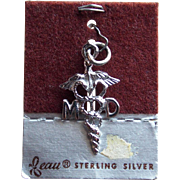 Sterling Caduceus MD Vintage Beau Charm - on Card