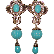 Fabulous Jose Maria Barrera for Avon Turquoise Colored Dangle Earrings