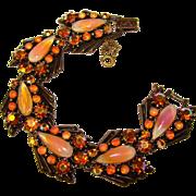Fabulous FLORENZA Orange Opalescent Rhinestone Bracelet