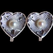 Sterling & Cultured Akoya Pearl Heart Vintage Earrings