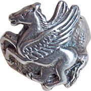 Sterling PEGASUS Vintage Ring - Size 5