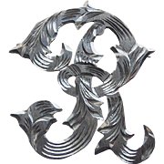 Gorgeous Mexican Sterling Initial R Vintage Brooch