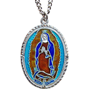 Sterling & Enamel Miraculous Mary Pendant Medal Necklace