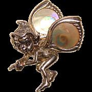 Sterling Cyvra ADORABLE FAIRY Vintage Pin Brooch