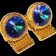 Awesome Dante Vintage BLUE RIVOLI Rhinestone Wrap CUFFLINKS