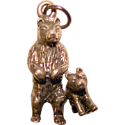 Adorable Sterling BEAR with BABY Vintage Charm