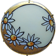 Antique Porcelain Daisy Handpainted Brooch