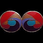 Laurel Burch Enamel Bird Pierced Earrings