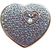 Swarovski Signed Heart Rhinestone Brooch - Swan Mark