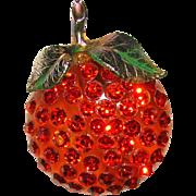 Fabulous FORBIDDEN FRUIT Lucite & Rhinestone Orange Brooch