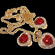 Fabulous SWAROVSKI Signed Invisible Set Red Rhinestone Heart Necklace & Earrings