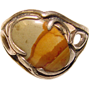 Fabulous STERLING Picture Stone Vintage Ring