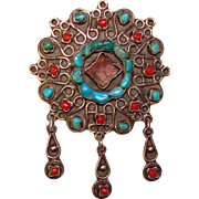 Fabulous MEXICAN STERLING Turquoise Amethyst & Coral Brooch