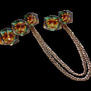 Carved Lucite Chatelaine Vintage Brooch