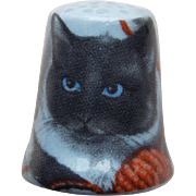 Vintage Gray Cat Porcelain Thimble