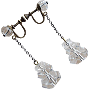 Art Deco Rock Crystal Dangle Earrings