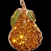 Fabulous FORBIDDEN FRUIT Lucite & Rhinestone Pear Brooch