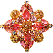 Fabulous D&E JULIANA Pink Rhinestone Estate Brooch