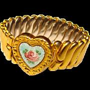 Petite Girl ENAMEL Heart 1940s Expansion Vintage Estate Bracelet