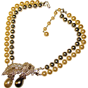 Elegant TRIFARI Faux Pearl & Rhinestone Vintage Estate Necklace