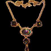 Gorgeous WATERMELON Glass Stones Dangle Necklace