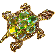 Awesome Vintage GREEN AURORA Rhinestone Turtle Brooch