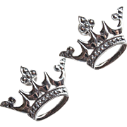 Sterling & Marcasite Crown Signed Vintage Earrings