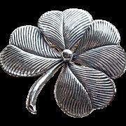 Huge 4 Leaf Clover Silvertone Vintage Brooch