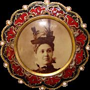 Fabulous VICTORIAN LADY Fancy Hat Photo Brooch in Enameled Frame