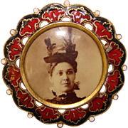Fabulous VICTORIAN LADY Fancy Hat Photo Brooch in Enameled Frame