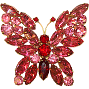 Fabulous Butterfly PINK & RED Rhinestone Large Vintage Brooch