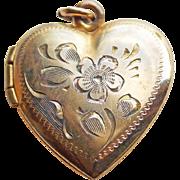 Heart 12K GF Engraved Flower Vintage Locket