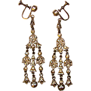 Fabulous ART DECO Paste Stones Long Dangle Earrings
