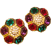 Fabulous SWAROVSKI Signed Hexagon Cut Color Rhinestone Vintage Earrings