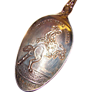 Awesome WYOMING COWBOY Sterling Silver Antique Spoon