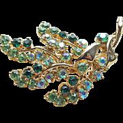 Green Aurora Rhinestone Vintage Brooch