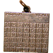 Awesome Sterling CALENDAR Vintage Estate Charm